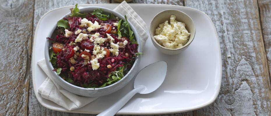 Raw Beetroot, Feta & Lentil Salad
