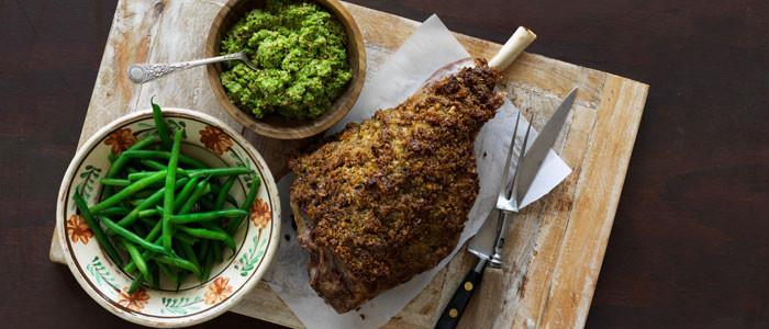 Roast Lamb with a Pea and Mint Pesto Crust