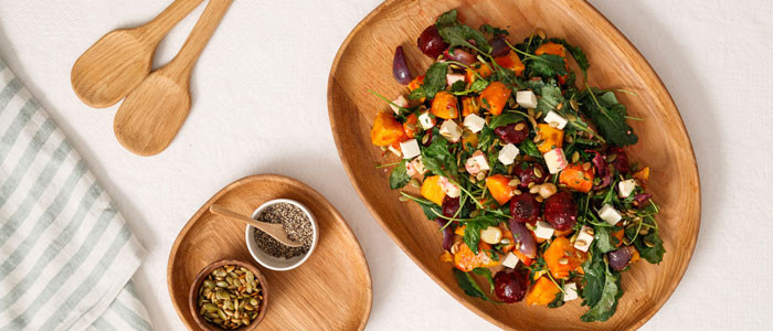 Roast Vegetable, Goat Feta & Kale Salad
