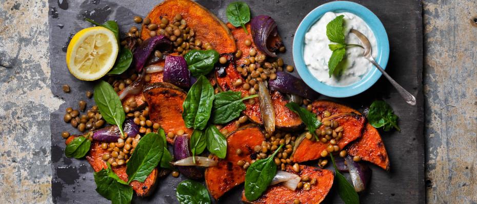 Roasted Pumpkin & Lentil Salad with Yoghurt & Feta Dressing