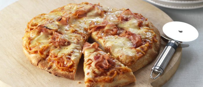 Spaghetti and Ham Pizza