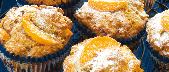 Spicy Peach and Apple Muffins