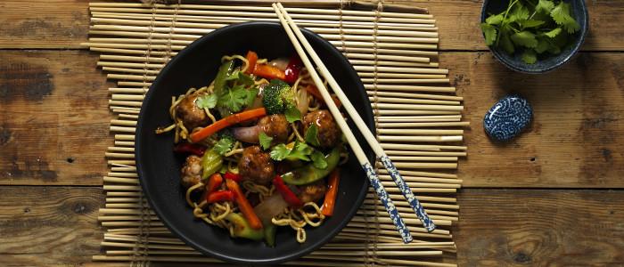 Stir Fry Teriyaki Pork Balls, Vegetables and Noodles