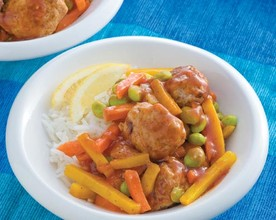 Sweet and Sour Pork Meatballs with Vegetables