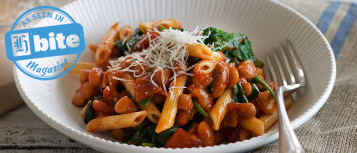 Tomato Penne with Cannellini Beans and Spinach