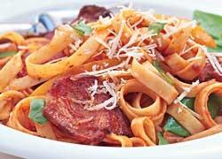 Tomato and Crispy Bacon Fettuccine
