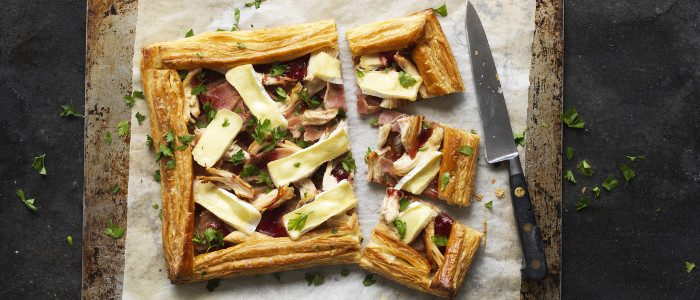 Turkey, Ham, Brie and Cranberry Tart