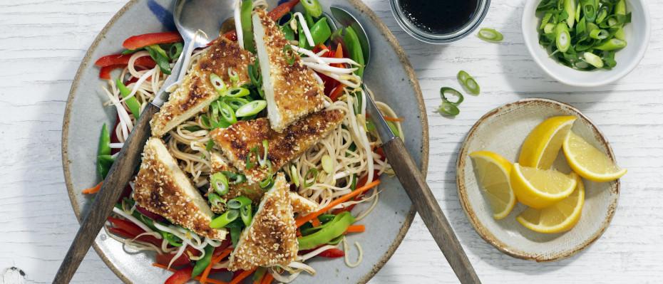 Warm Crispy Sesame Tofu Noodle Salad