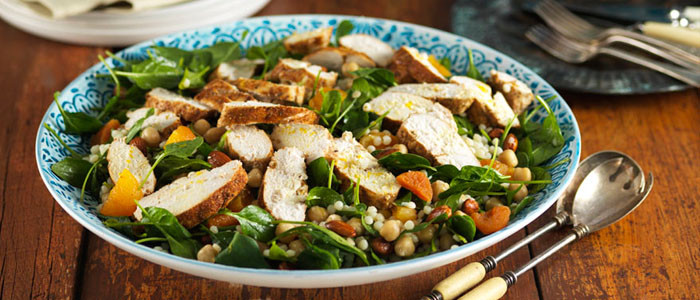 Warm Moroccan Chicken and Chickpea Salad