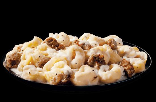tortellini-alfredo-with-italian-sausage plate image