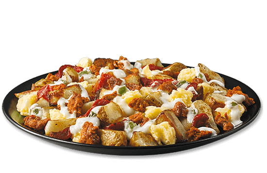 all-day-breakfast-spicy-queso-hash-dinner plate image