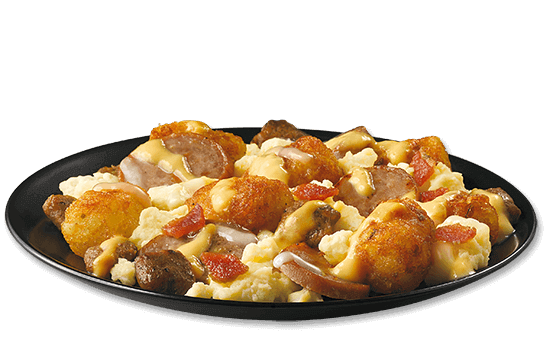 all-day-breakfast-double-sausage-bacon-loaded-tots plate image
