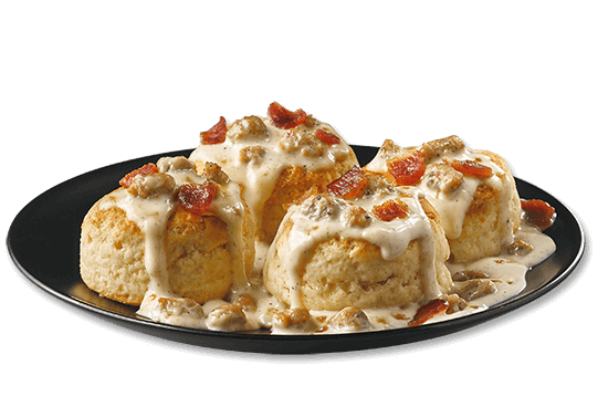 all-day-breakfast-biscuits-bacon-sausage-gravy plate image