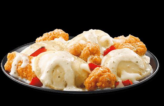 double-chicken-creamy-alfredo-ravioli plate image