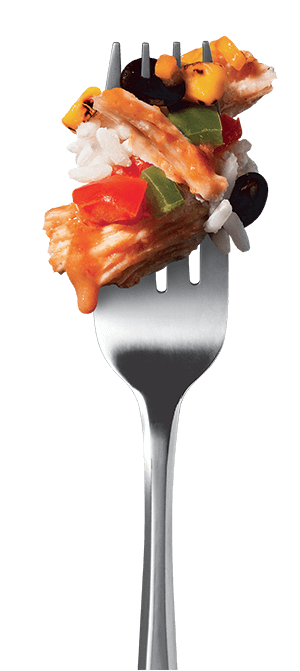 pulled-chicken-burrito-bowl fork image
