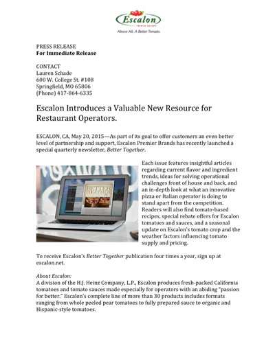 Escalon Introduces a Valuable New Resource for Restaurant Operators.