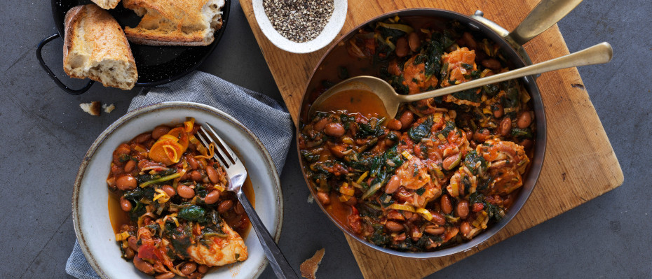 One Pan Chicken, Beans and Spinach