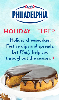 Holiday Helper - Holiday cheesecakes. Festive dips and spreads. Let Philly help you throughout the season.