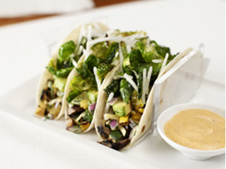 Roasted Brussels & Grilled Veggie Tacos