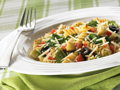 Rotini Pasta Salad with Spinach and Tomato