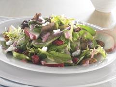 Salade rouge et verte à la vinaigrette framboise et graines de pavot