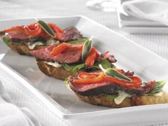 Crostini with Grilled Steak, Arugula & Roasted Red Peppers
