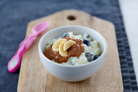 Blueberry Risotto with Choc Coconut Custard