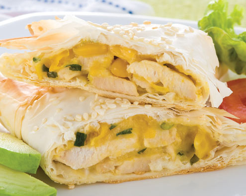 Chicken Corn Filo Triangles