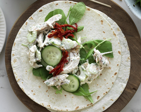 Chicken, Rocket and Almond Wraps