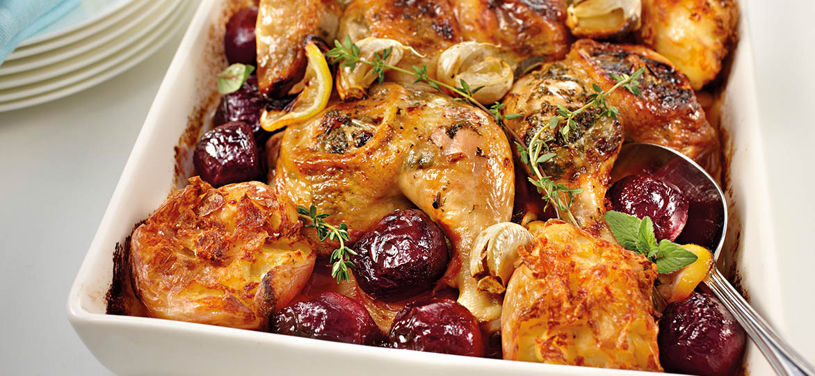 Crispy Greek Lemon Chicken with Roasted Beetroot