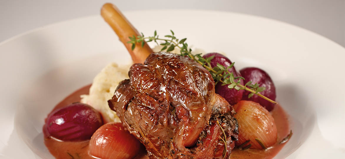 Slow-Cooked Lamb Shanks with Baby Beets
