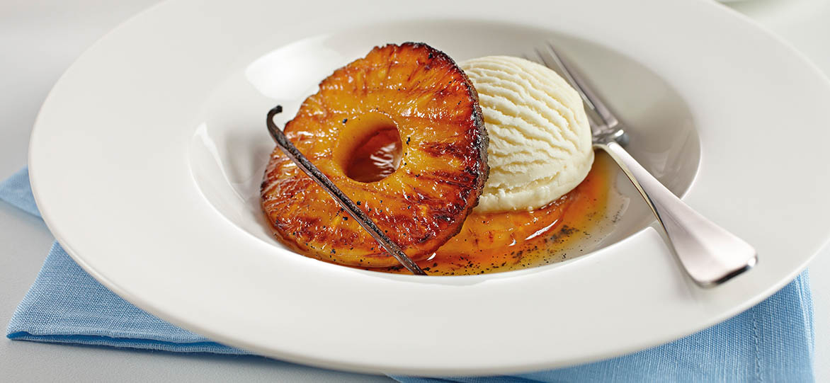Caramelised Pineapple with Ice-cream & Vanilla Syrup