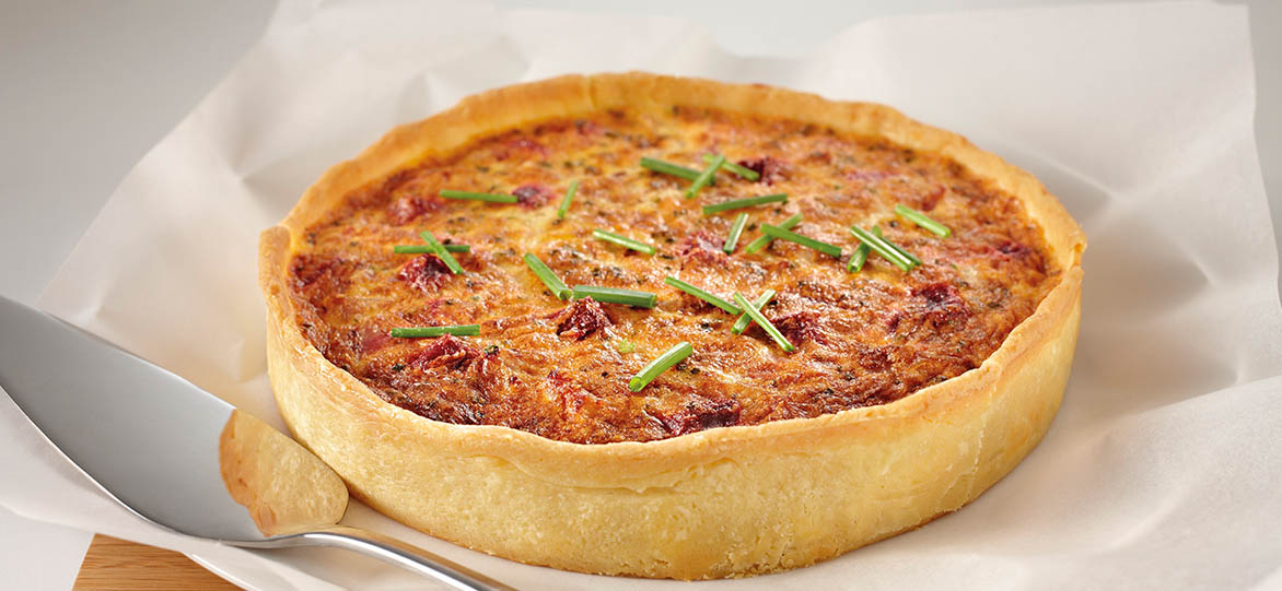 Sweet Onion, Beetroot & Ham Quiche