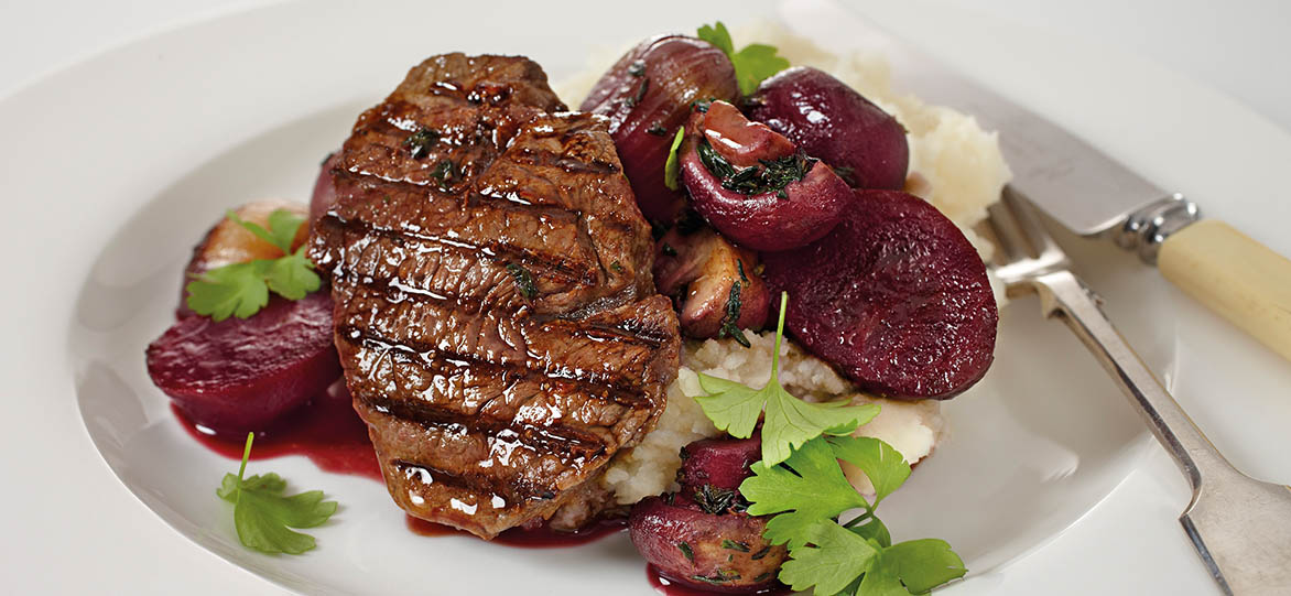 Seared Steaks with Mushroom and Beetroot in Red Wine Sauce