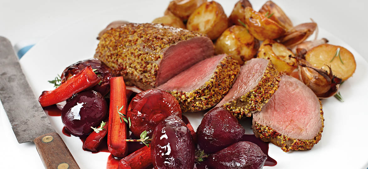 Rare Roasted Beef with Balsamic Onions & Baby Beets with Thyme image