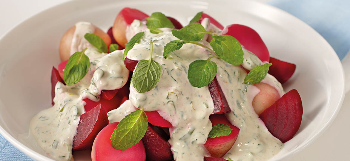 Pink Potato & Beetroot Salad with Horseradish Cream