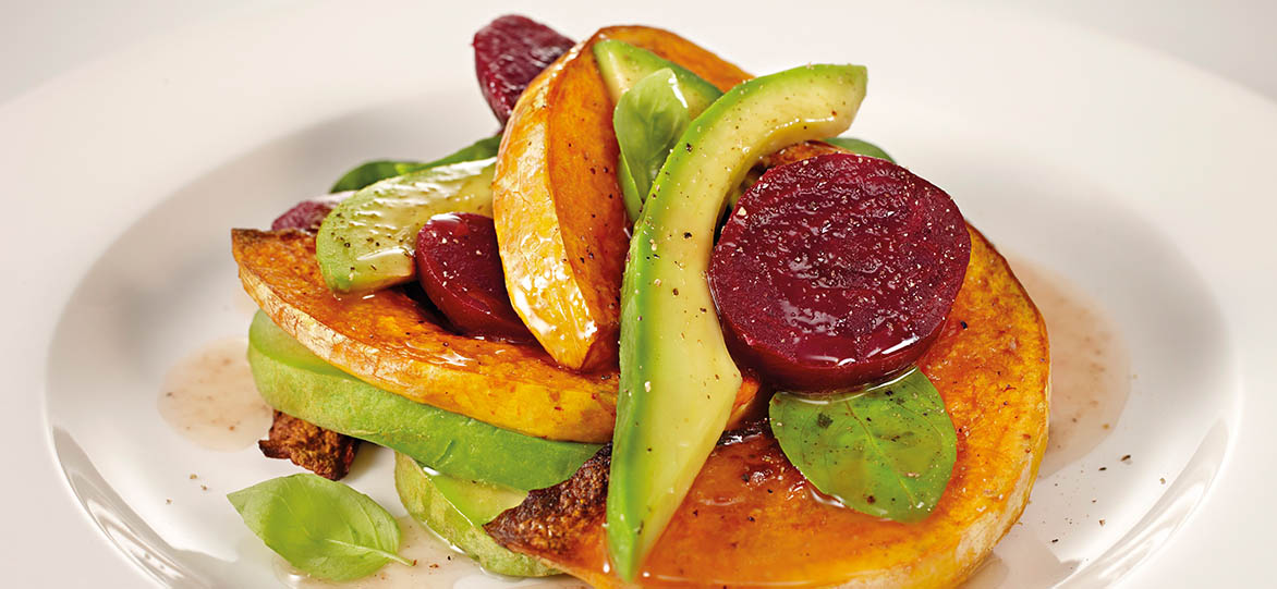 Warm Roasted Pumpkin, Avocado & Beetroot Salad image