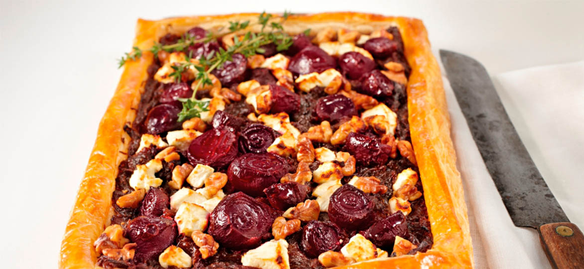 Beetroot, Walnut & Chèvre Tart