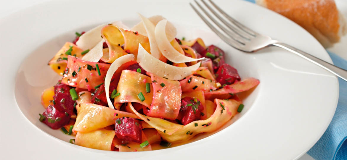 Pasta with Beetroot, Chives and Burnt Butter image