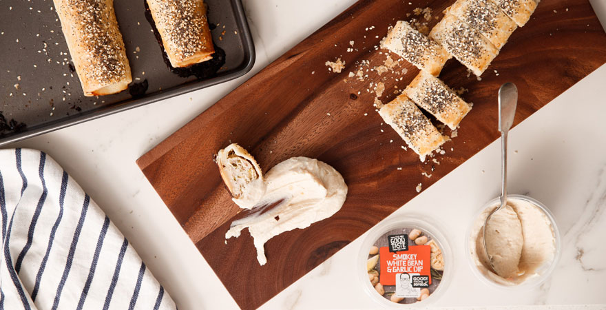 michaels-chicken-sausage-rolls-with-smokey-white-bean-garlic-dip