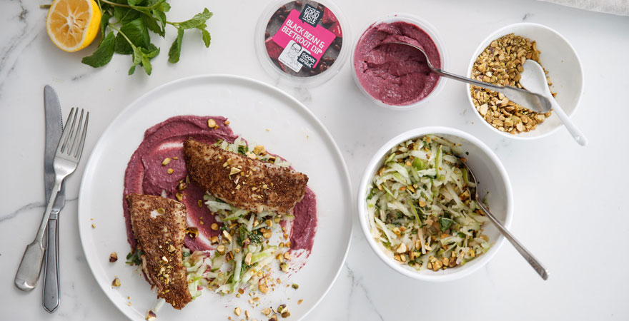 Michael's Dry Rubbed Fish & Apple Slaw with Black Bean & Beetroot Dip