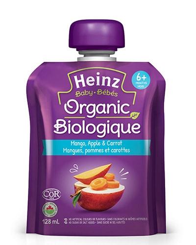 Mangues, pommes et carottes biologiques