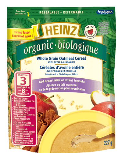 Organic Whole Grain Oatmeal Cereal with Apple & Cinnamon