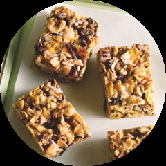 Top view of granola bars made with KRAFT caramel bits