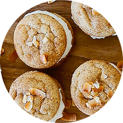 Top view of four cinnamon cookies with cream cheese filling
