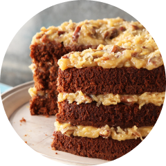 Side view of a German chocolate cake