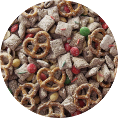 Close up view of  sweet and salty trail mix