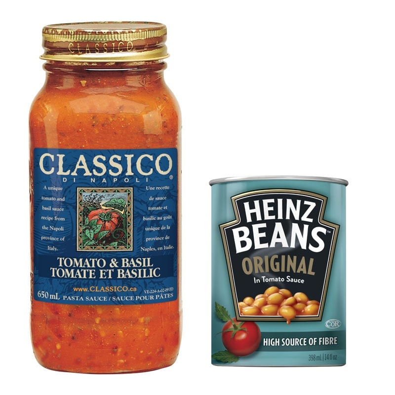 Classico sauce jar and Heinz beans can
