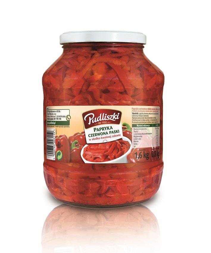 Papryka czerwona paski Pudliszki 1.6kg szklany słoik image