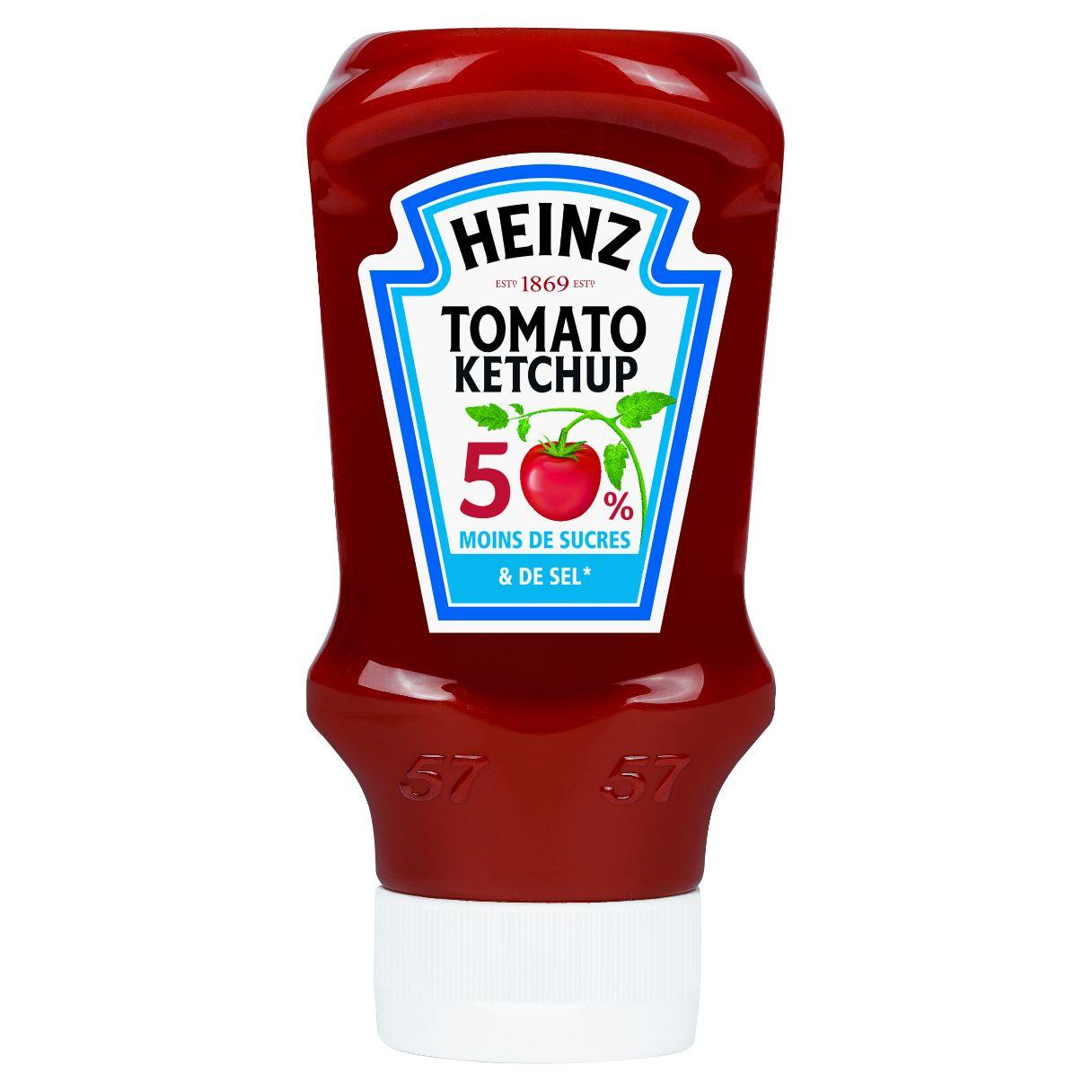 Heinz Tomato ketchup 50% de sucre et 50% de sel en moins 435g top down image